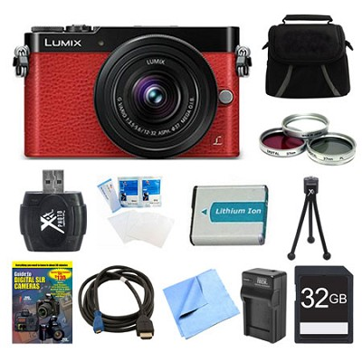 LUMIX GM5 DSLM Red Camera Plus 12-32mm Lens 32GB Bundle