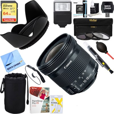 EF-S 10-18mm F4.5-5.6 IS STM Lens + 64GB Ultimate Kit