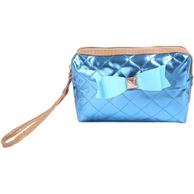 Bow Diva Designer-inspired Quilted Metallic Case - Blue