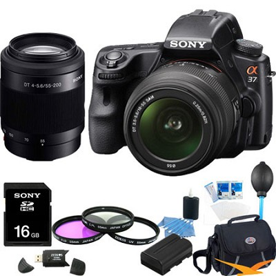Alpha SLT-A37K 16.1 MP 16,000 ISO SLR Kit w/ 18-55, 55-200 Ultimate Bundle