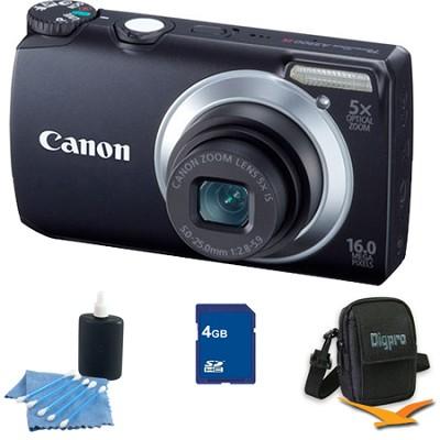 PowerShot A3300 IS 16MP Black Digital Camera 4GB Bundle