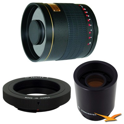 800mm F8.0 Mirror Lens for Pentax with 2x Multiplier (Black Body) - 800M-B