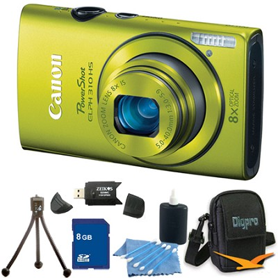 PowerShot ELPH 310 HS 12MP Green Digital Camera 8GB Bundle