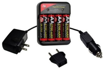 AC/DC MutliVoltage (110-240v) Charger w/ 4 AA 2700mAh NiMH Batteries