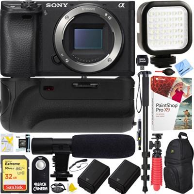 a6500 4K Mirrorless Camera Body (ILCE-6500/B Battery Grip & Mic Pro Video Bundle