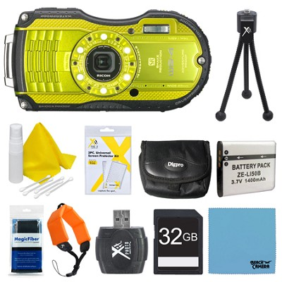 WG-4 16MP HD 1080p Waterproof Digital Camera Lime Yellow 32GB Kit