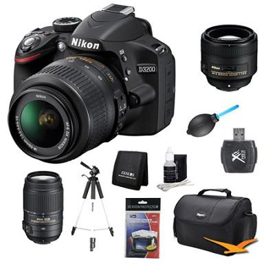 D3200 DX-format Digital SLR Kit w/ 18-55mm, 55-300mm, 85mm Lens Kit