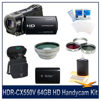 HDR-CX550V 64GB HD Handycam w/Long Life Batt, Wide Angle Lens, Filter Kit,More