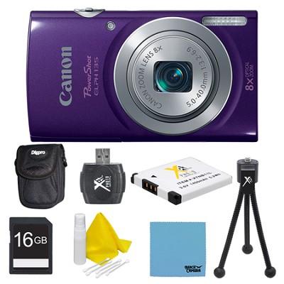 PowerShot ELPH 135 16MP 8x Optical Zoom Digital Camera Purple Kit