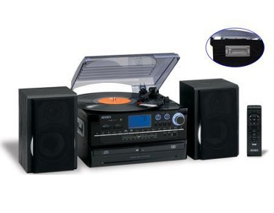 JTA-908B 3-SPeed Stereo Turntable 2CD System with Cassette & AM/FM Stereo Radio