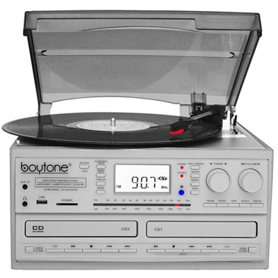 BT-29W, Bluetooth Dual CD Player and Recorder CD2 to CD1, AM/FM Radio&Turntable