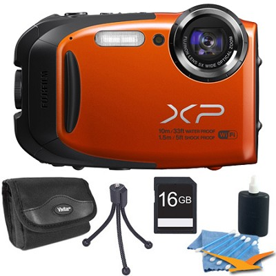FinePix XP70 Waterproof/Shockproof Digital Camera Orange 16GB Kit