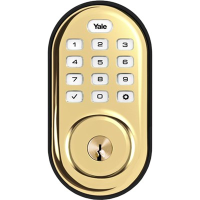 Assure Lock Push Button with Z-Wave in Polished Brass (YRD216)