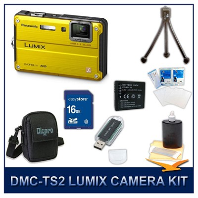 DMC-TS2Y LUMIX 14.1MP Digital Camera (Yellow), 16GB SD Card, and Camera Case