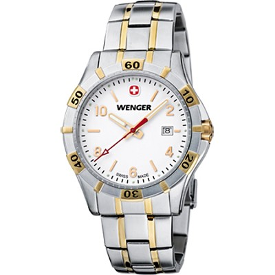 Men's Platoon Analog Watch - White Dial/Bi-Color Stainless Steel Bracelet