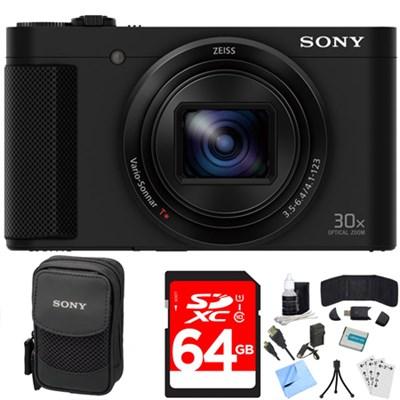 Cyber-shot HX80 Compact Digital Camera (Black) 64GB Memory Card Deluxe Bundle