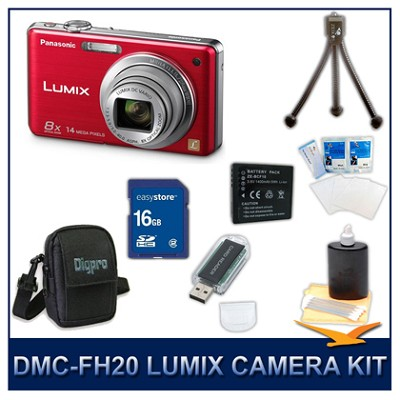 DMC-FH20R LUMIX 14.1 MP Digital Camera (Red), 16GB SD Card, and Camera Case