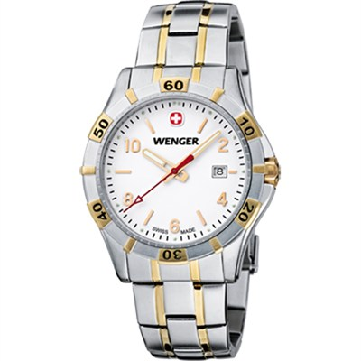 Men's Platoon Analog Watch - White Dial/Bi-Color Stainless - OPEN BOX