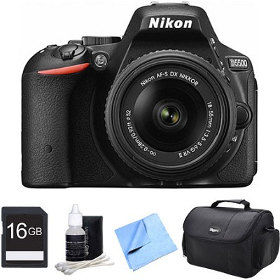 D5500 Black DSLR Camera 18-55mm Lens and 16GB Bundle