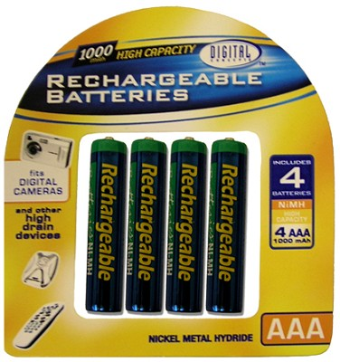 Pack of 4 1000 mAh AAA NMH Rechargeable Batteries ( charger not included )