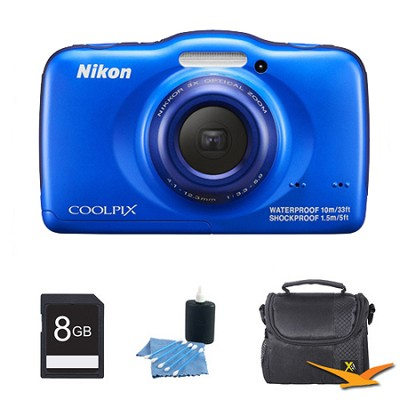 COOLPIX S32 13.2MP Waterproof Shockproof Dustproof Digital Camera Blue Kit