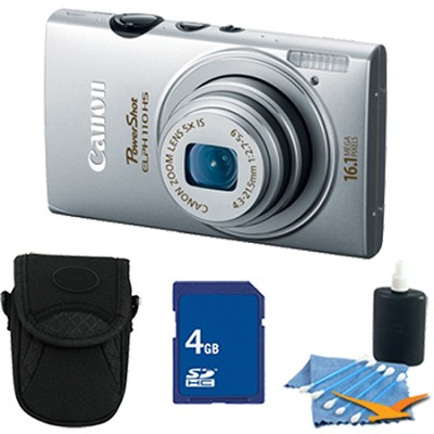 PowerShot ELPH 110 HS 16.1MP Silver Digital Camera 5x Zoom HD Video 4 GB Bundle