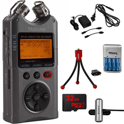 DR-40 Portable Digital Recorder Luminous Gray with 32GB Charging Bundle