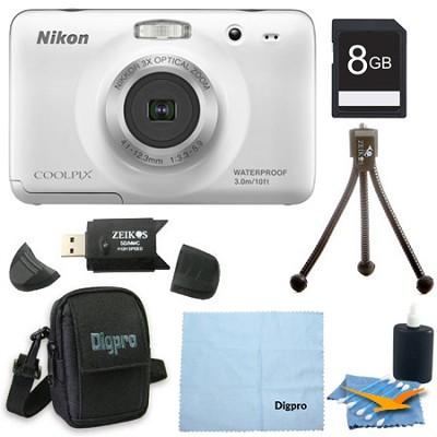 COOLPIX S30 10.1MP 2.7 LCD Waterproof Shockproof Digital Camera 8GB White Bundle