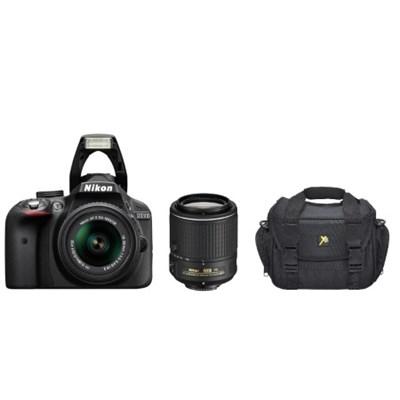 Refurbished D3300 24.2MP DSLR with 18-55 and 55-200 VR II Lenses & Case Bundle
