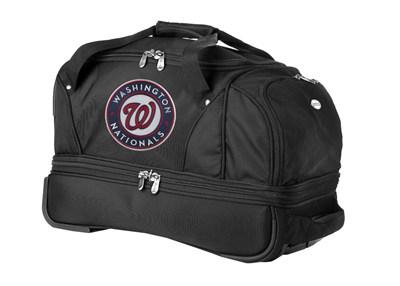 MLB 22-Inch Drop Bottom Rolling Duffel Luggage, Black - Washington Nationals