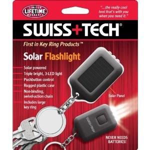 Solar Triple bright, 3-LED Flashlight with Key Ring