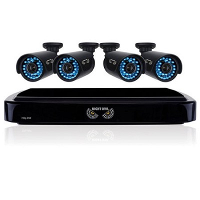 HD 720p 4 Channel AHD Security System, 4x720p Cameras, 100ft Night Vision