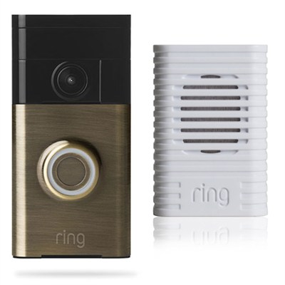 Video Doorbell Wi-Fi Enabled Smartphone Compatible Chime Bundle (Antique Brass)