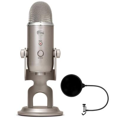 Yeti 3-Capsule USB Microphone Platinum - YETI PLATINUM w/ Pop Shield Wind Screen