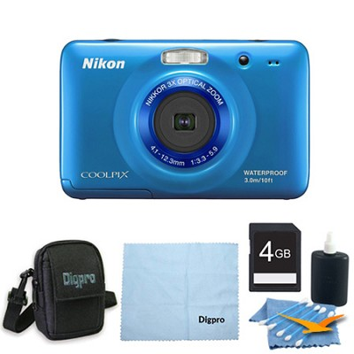 COOLPIX S30 10.1MP 2.7 LCD Waterproof Shockproof Digital Camera 4GB Blue Bundle