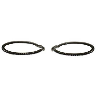 40mm Rhinestone Hoop Earrings - Black