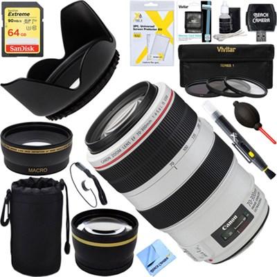 EF 70-300mm f/4-5.6L IS USM UD Telephoto Lens f/Canon EOS DSLR + 64GB Kit