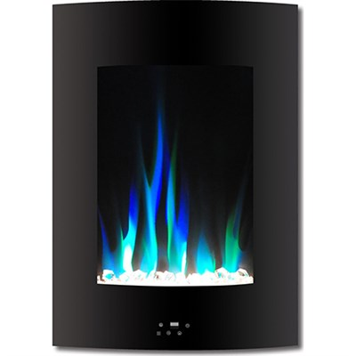 19.5` Vertical Color Changing Wall Mount Fireplace w/ Crystals - CAM19VWMEF-1BLK