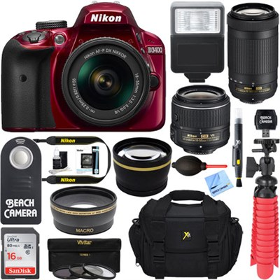D3400 DSLR Camera + AF-P 18-55 VR & 70-300mm Dual Lens Bundle (Red) Refurbished