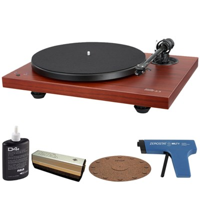 2-Speed Audiophile Rosenut Turntable w/Cartridge + Record Cleaner Kit