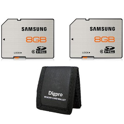 High Speed 8GB Waterproof & Shockproof Class 6 SDHC Memory Card (2-Pack)