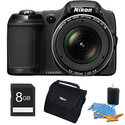 COOLPIX L820 16 MP 30x Zoom Digital Camera - Black Plus 8GB Memory Kit