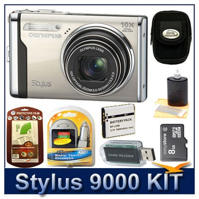 Stylus 9000 12MP 2.7` LCD Digital Camera (Champagne) Sensible Mega Bundle