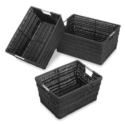 Rattique Storage Baskets 3 Blk
