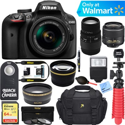 D3400 DSLR Camera w/AF-P DX 18-55mm+ 70-300mm SLD DG Lens Accessory Bundle