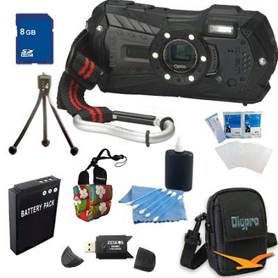 Optio WG-2 Waterproof Digital Camera - Black 8GB Bundle