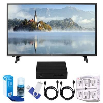 LJ500B Series 32` LED HDTV (2017) + Terk HD TV Tuner 16GB Hook-Up Bundle