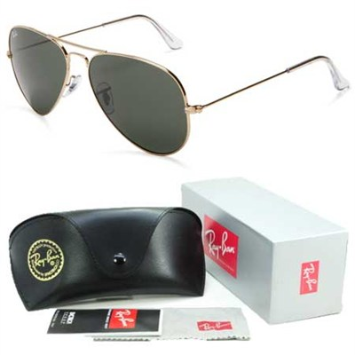 Aviator Classic Metal Sunglasses Gold Frame/Green Lens 62mm