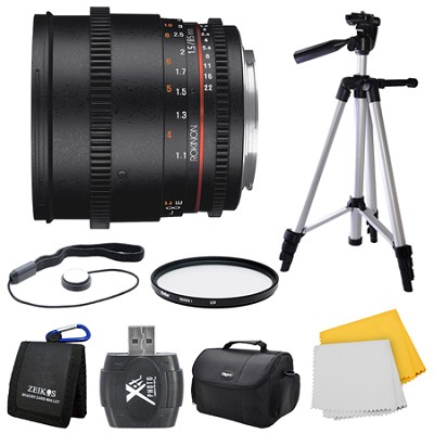 DS 85mm T1.5 Full Frame Cine Lens for Micro Four Thirds Mount Bundle