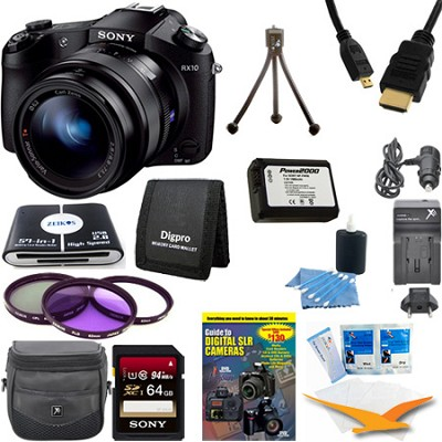 Cyber-shot DSC-RX10 Digital Camera 64 GB SDHC Card, Battery, and Tripod Bundle